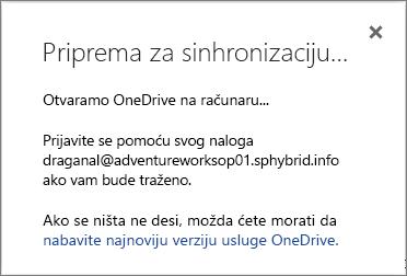 """Snimak ekrana dijaloga """"Priprema za sinhronizovanje"""" prilikom podešavanja usluge OneDrive for Business za sinhronizaciju"""