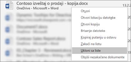 Kontekstualni meni koji vidite kada kliknete desnim tasterom miša na datoteku sa liste nedavno korišćenih datoteka