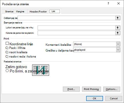 Kartice listova za podešavanje Excel stranice