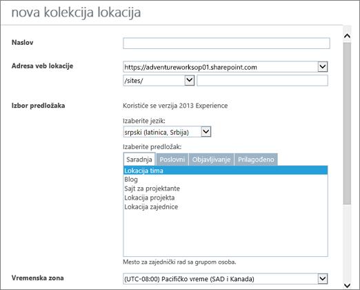 """Dijalog """"Nova kolekcija sajtova"""" (gornja polovina)"""