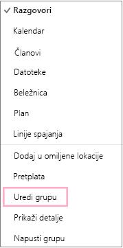 """Kontekstualni ili priručni meni grupe kalendara ističe opciju """"Uredi grupu"""". Meni se pojavljuje kada odaberete dugme """"Još radnji"""" na traci sa menijima pojedinačne grupe."""