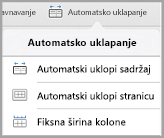 Opcije automatskog uklapanja iPad