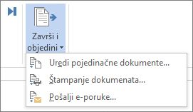 """Snimak ekrana kartice """"Pošiljke"""" u programu Word koji prikazuje markiranu komandu """"Završi i objedini""""."""