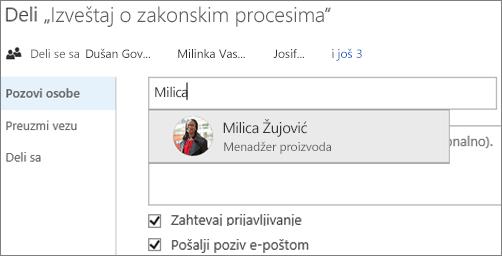 Snimak ekrana deljenja datoteke u usluzi OneDrive for Business