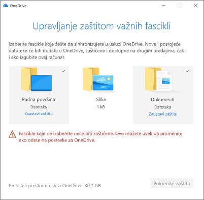 Snimak ekrana upravljanje zaštitu dijaloga važne fascikle u usluzi OneDrive
