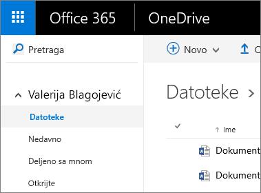 """Snimak ekrana prikaza """"Datoteka"""" u usluzi OneDrive for Business"""