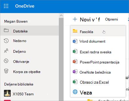 OneDrive – pravljenje fascikle