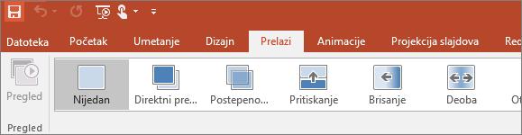 Prikazuje kartice prelaza na traci u programu PowerPoint