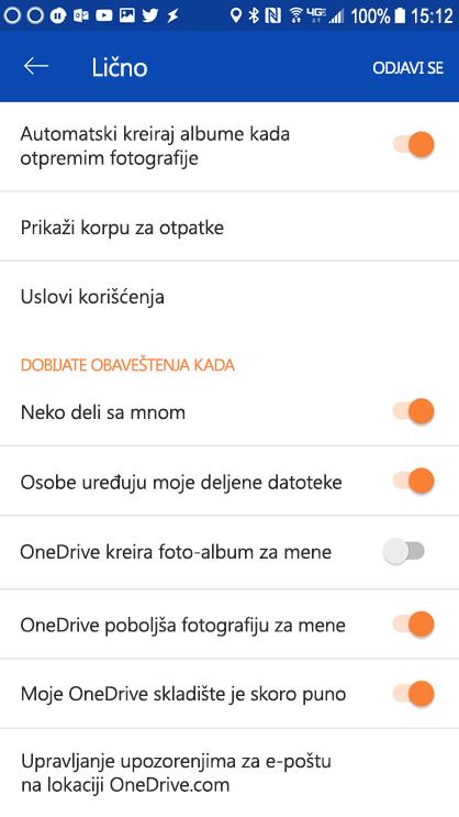 Idite u postavke OneDrive za Android aplikaciju da biste podesili postavke obaveštenja.