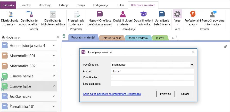 Snimak ekrana veze dijalog OneNote Beležnica za razred programskog dodatka pomoću smernica grupe nije konfigurisan.