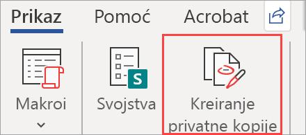 Prikazuje kreiranje privatne kopije dugmeta u dokumentu