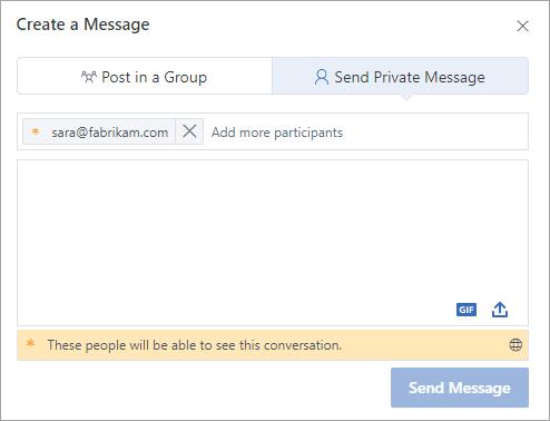 Dodavanje spoljnog učesnika u privatnu poruku