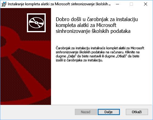 """Kliknite na dugme """"Sledeće"""" na stranici dobrodošlice za podešavanje Microsoft kompleta alatki za sinhronizovanje školskih podataka"""