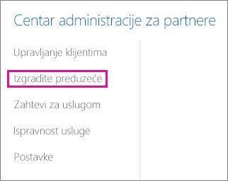U centru administracije za partnere potvrdite izgradite preduzeće.