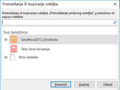 Dijalog za premeštanje ili kopiranje odeljka u programu OneNote za Windows 2016