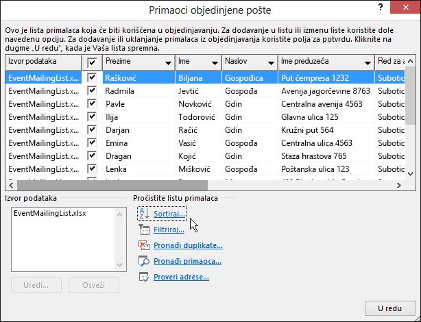 U sklopu objedinjavanja pošte u programu Word, rezultati sortiranja su primenjeni na listu primalaca.