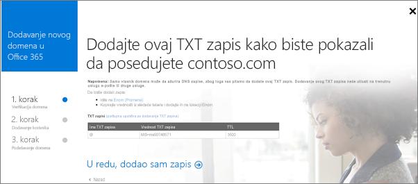 Dodajte TXT zapis da biste potvrdili da ste vlasnik domena.
