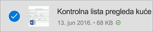 OneDrive datoteka označena za van mreže