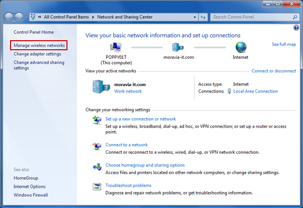In Network and Sharing Center, click Manage wireless networks.