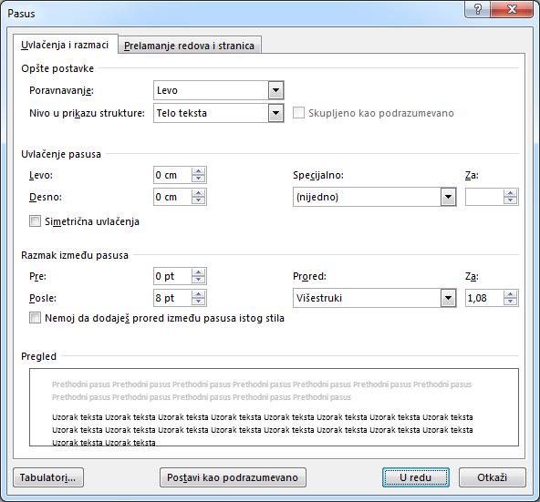 """Snimak ekrana dijaloga """"Pasus"""" u programu Word koji prikazuje karticu """"Uvlačenja i razmaci""""."""