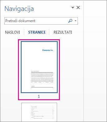 Sličice stranica u oknu za navigaciju
