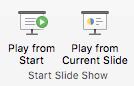 Reprodukujte projekciju slajdova od početka ili od trenutnog slajda.