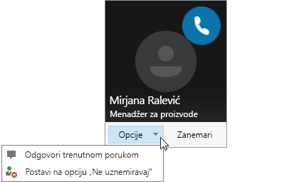 """Snimak ekrana obaveštenja o pozivu sa otvorenim menijem """"Opcije""""."""