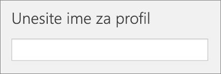 Snimak ekrana unesite ime za profil, tokom dodavanje profila u školi podataka sinhronizacije