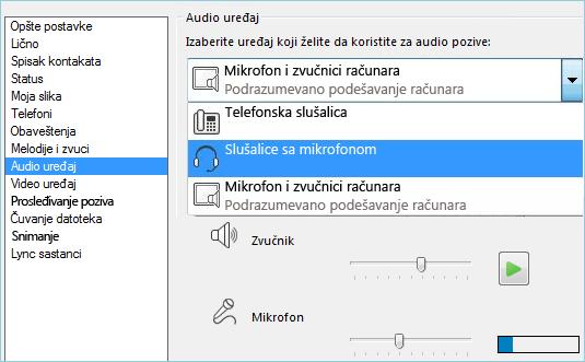 Snimak ekrana postavki zvuka