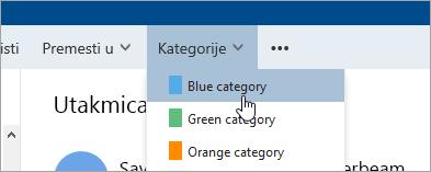 """Snimak ekrana dugmeta """"Kategorije"""""""