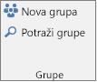 """Dugmad """"Nova grupa"""" i """"Pregledaj grupe"""" na traci"""