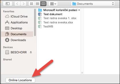 """Meni """"Otvaranje datoteke"""" sa prikazom """"Na mom Mac računaru""""."""