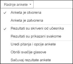 Snimak ekrana radnji ankete