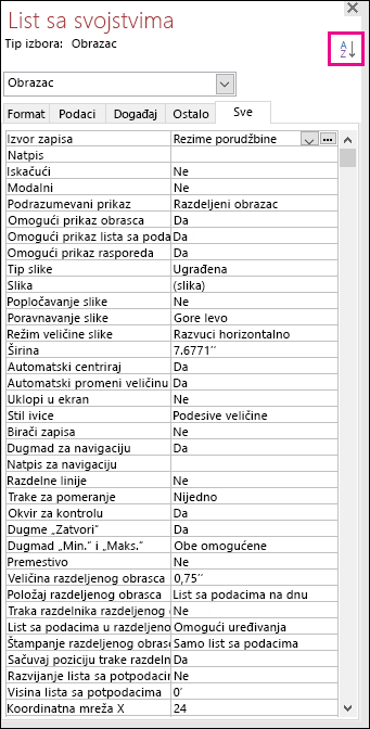 Snimak ekrana lista sa svojstvima programa Access na kom svojstva nisu sortirana