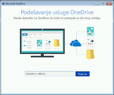 Snimak ekrana prvog ekrana usluge OneDrive Setup u operativnom sistemu Windows 7