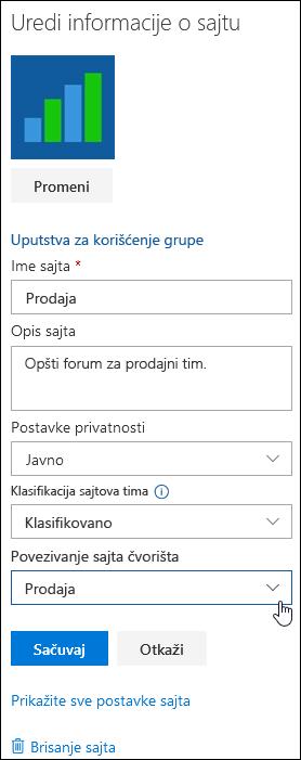 Povezivanje sa SharePoint lokacije sa lokacije čvorišta