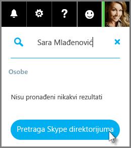 """Izaberite stavku """"Pretraga Skype direktorijuma"""""""