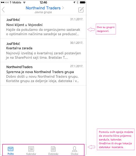 Prikaz razgovora sa grupom u aplikaciju Outlook za mobilne uređaje