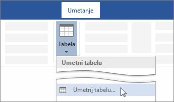 "Opcija ""Umetni tabelu"" na traci programa Word"