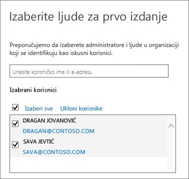 Programi Office 365 izdanja – dodavanje korisnika