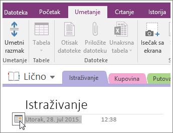 Snimak ekrana kako da promenite oznaku datuma stranice u programu OneNote 2016.
