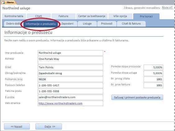 """Kartica """"Informacije o preduzeću"""" predloška Services baze podataka"""