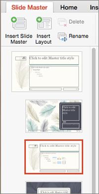 Okno sa sličicama prikazuje rasporede prilikom uređivanja mastera slajda