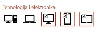 Možete izabrati više ikona za umetanje tako što ćete kliknuti jednom na svaku od njih.