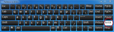 Tastatura na ekranu operativnog sistema Windows sa tasterom Scroll Lock