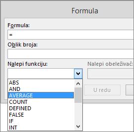 """Funkcije lepljenja formule prikazane su u okviru """"Alatke za tabele"""", na kartici """"Raspored""""."""