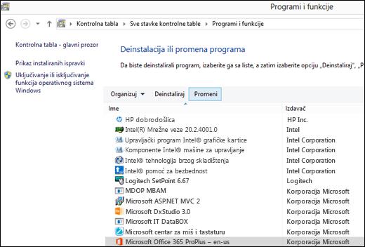 Kliknite na dugme Promeni u apleta deinstalirate programe za pokretanje popravke sistema Microsoft Office