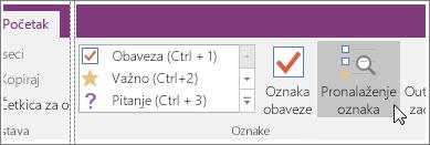 """Snimak ekrana dugmeta """"Pronađi oznake"""" u programu OneNote 2016"""