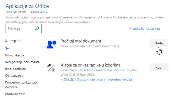 Snimak ekrana na stranici aplikacija za Office iz prodavnice gde možete da izaberete ili potražite aplikacije za Word.