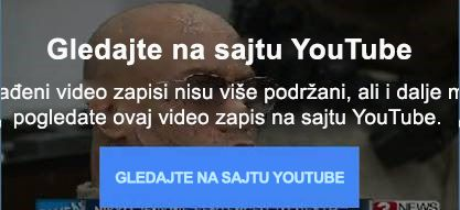 Ova YouTube poruka o grešci objašnjava da usluga više ne podržava ugrađene fleš video zapise